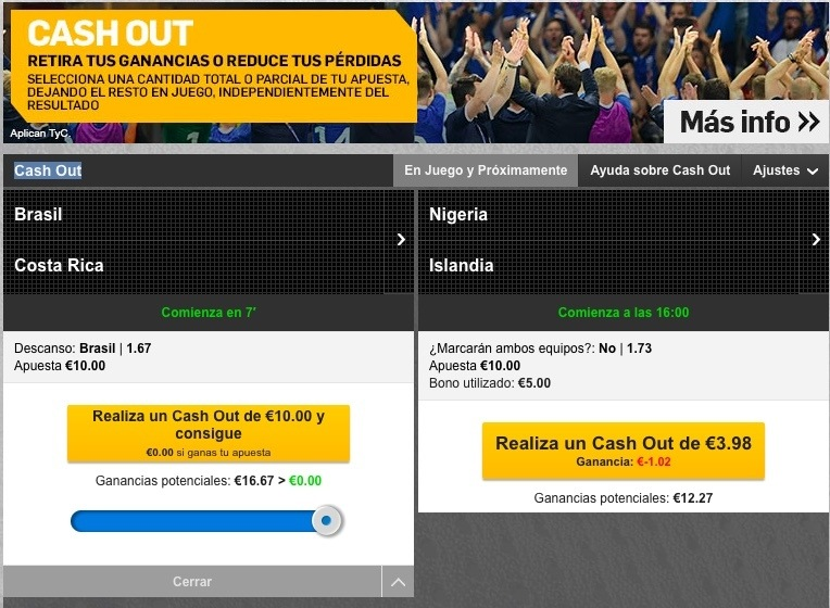 cash out de betfair con su bono de apuestas
